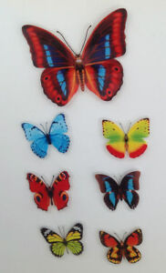 7 Stück Deko Schmetterlinge mit Magnet Magnetschmetterling Kühlschrankmagnet