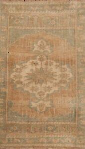 Vintage Geometric Muted Anatolian Turkish Area Rug Tribal Hand-Made 2'x3' Carpet