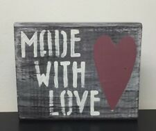 Distressed Wood Sign Block Shelf Sitter Rustic Nursery Decor Made with love