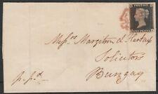 1840 SG2 1d BLACK PLATE 3 RED CROSS 4 MARGINS COVER STONEHAM TO BUNGAY (HI)
