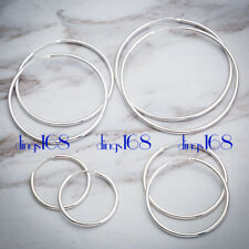 925 Sterling Silver Endless Thin Hoop Earring Many Size Small Medium X-Large E3Q