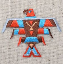 Iron On Embroidered Applique Patch Indian Bird Totem Pole Southwestern Turquoise