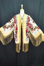 Art To Baby Golden Butterfly Burnout Velvet Fringe Duster Kimono Jacket Coat
