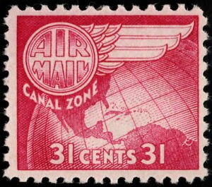 Canal Zone - 1951 - 31 Cents Cerise Globe & Wing Airmail Issue #C25 Mint NH F-VF