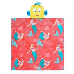 DISNEY store the little mermaid ARIEL Flounder PLUSH Hooded BLANKET NEW!