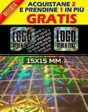 648 SIGILLI ADESIVI OLOGRAMMI PERSONALIZZATE BOLLINI GARANZIA SICUREZZA15x15 mm