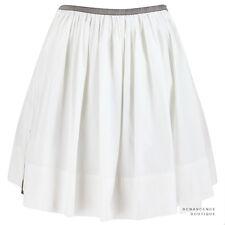 Proenza Schouler Pure White Cotton Poplin Short Pleated Full Skirt US2 UK6
