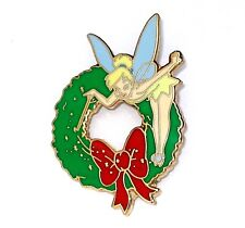 Le Disney Pin✿Tinker Bell Tink Christmas Holiday Wreath Bow Green Red Rare Htf