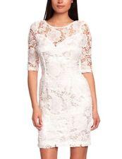 LIPSY Ivory Crema Floral el entorchado de Encaje ceñido al cuerpo de cambio Mini Lápiz Vestido Talla 10
