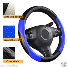 Universal Sports Steering wheel cover Leather Blue Black Fashion 38CM 37cm 39