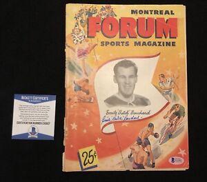 "Emile ""Butch"" Bouchard Signed Canadiens Montreal Forum Magazine Beckett COA"
