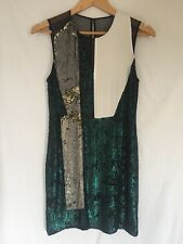 3.1 Philip Lim Sequin Cocktail Dress Sheer Black White Green Silver Size 0 New