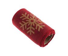 12cm Christmas Snowflake Print Hessian Trim Roll 2m Red