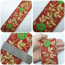 Latest Red Indian Lace Trim Golden Zari Stone Work Sari Dupatta Boarder Trim 1M