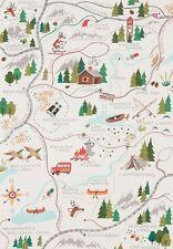 Sugar Mountain Trail Map Santa Alexander Henry  8523 A Natural Cotton Fabric