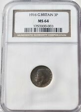 More details for 1916 silver threepence three pence 3p ms 64 ngc great britain