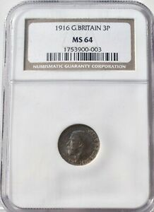 1916 Silver Threepence Three Pence 3p MS 64 NGC Great Britain