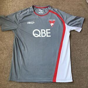 AFL Sydney Swans FC Australian Aussie Rules T Shirt ISC - Size Large - Grey Top