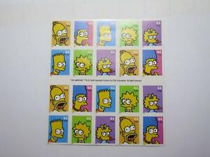 THE SIMPSONS 44c STAMP SHEET USA FIRST CLASS POSTAGE MINT USPS 20 STAMPS 🌈⭐🌈