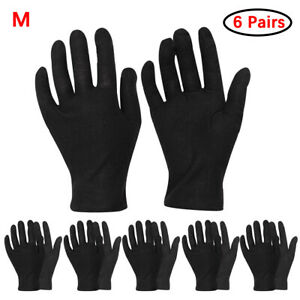 US_6 Pairs Cotton Thin Working Gloves for Coin Jewelry Silver Inspection Eczema