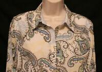 Chicos no iron white blue green yellow black paisley 3/4 sleeve blouse womens 1
