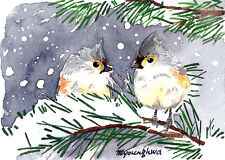 ACEO Limited Edition-Winter titmice, Art card by Anna Lee, Small gift idea