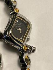 Rare Titan Raga 2350BEA Women's  Watch Silver Tone black Face - New Battery L@@K