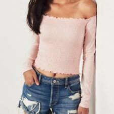 Hollister Smocked Pink Top Off Shoulder Long Sleeve Shirt Size Medium