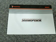 2003 Pontiac Sunfire Coupe Owner Owner's Manual User Guide Book 2.2L