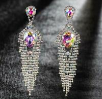 "Elegant 5"" AB iridescent Crystal Earrings, Drag Queen, Pageant, Prom, Bridal"