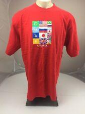 Vintage Coca-Cola Atlanta internatonal flag logo red USA MADE souvenir tshirt XL
