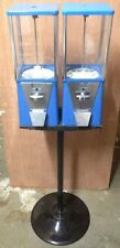 Two Way Oak Vista Candy Toy Gumball Vending Machine With Pipe Stand Decent