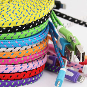 2 meter braided USB Data Sync Charger Flat Cable  for iphone/x/max/xr/11/11pro