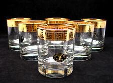 SET of 6 Italian Crystal Scotch Whiskey Rocks Glasses, 24K Gold Greek Key, 9 Oz.