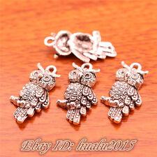 30pcs 24mm Charms Owl Pendants Tibetan Silver Jewelry Necklace Bracelet 7053H