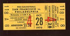 October 28 1970 NBA Basketball Ticket Stub San Francisco vs Philadelphia NRMT