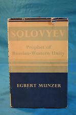 Solovyev Prophet of Russian-Western Unity Egbert Munzer Philosophical Lib 1956
