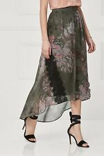 Next Khaki Floral Maxi Skirt Size UK 20 LF075 HH 16