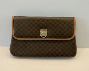 Vintage Celine Clutch Flap Hand Bag Monogram