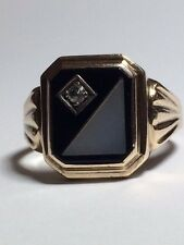 Vintage 9 ct Yellow GOLD Mother of Pearl Onyx and Diamond Men's ring.