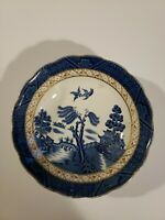 """BOOTHS England REAL OLD WILLOW scalloped coupe soup bowl gold trim, 6-1/4"""""""
