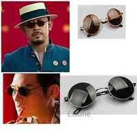 Vintage Black Lens Men Women Round Metal Frame Retro Sunglasses Glasses Eyewear