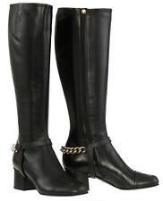 "NEW GUCCI CURRENT BLACK LEATHER SOHO LOGO 2.75"" HEELS  KNEE BOOTS SHOES 39/US 9"