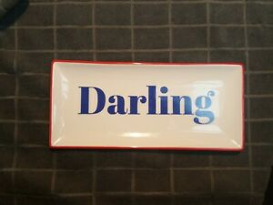 """Creative Co-Op """"Darling"""" Rectangular Stoneware Plate/Tray 10.75""""  NWT ovensafe"""