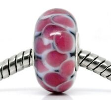 Pink Black Pattern Single Core Murano Glass Bead fits European Charm Bracelets