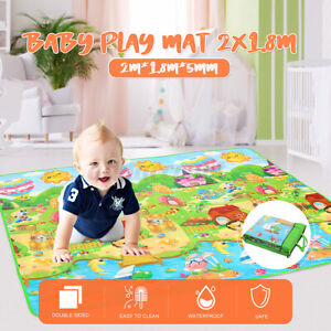 2x1.8m Double Sides Kids Play Mat Floor Crawling Rug Picnic Cushion Baby Blanket