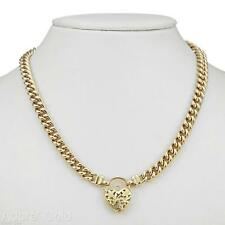 18K Yellow Gold GL Womens Solid Medium Euro Curb Necklace & Filigree Heart Clasp