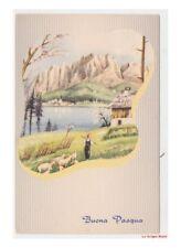 paesaggio di montagna baita sul lago cartolina vintage Pasqua primavera
