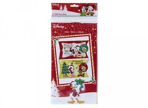 Disney Mickey Mouse Christmas Gift Pouches Boxes 16cm x 23cm Pack of 2