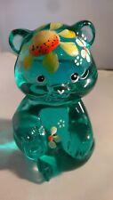 Fenton Art Glass Hand Painted Sun Flower Robin Egg Blue Bear 5151ZJ